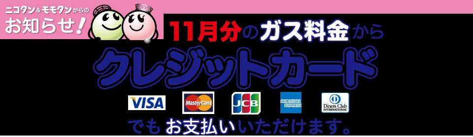 11月分のガス料金からクレジットカードでもお支払いいただけます。